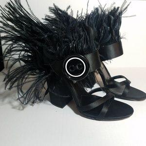 456fe06aaa1 Prada Shoes - PRADA Feather Trimmed Satin Black Sandals Heels